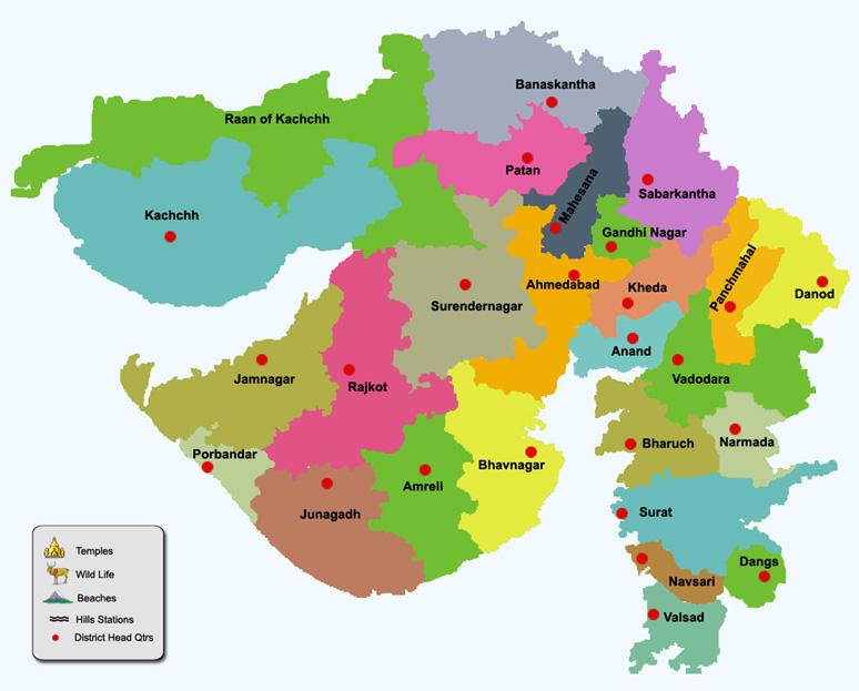 GUJARAT DISTRICT MAP
