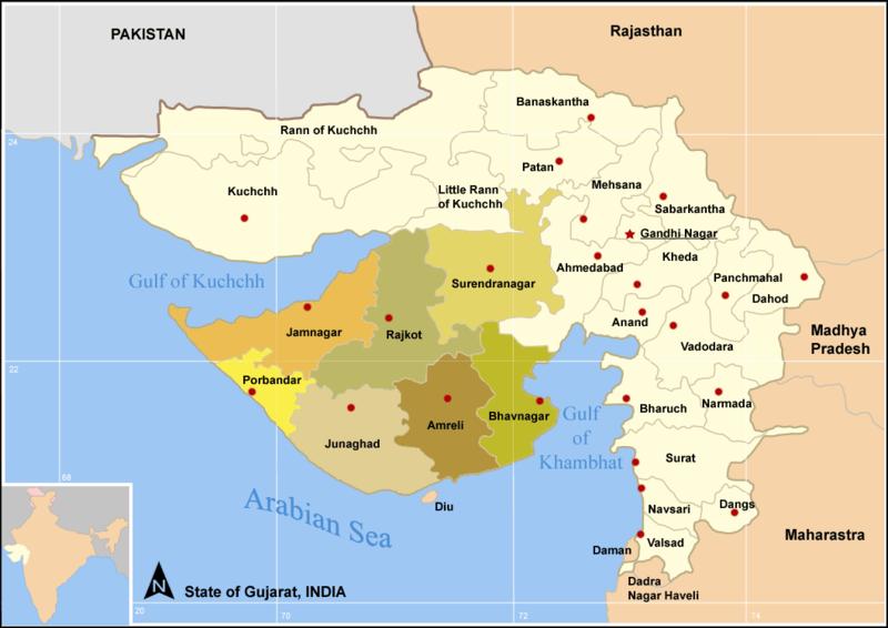 GUJARAT SAURASHTRA MAP