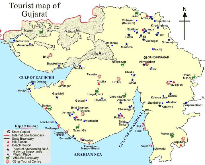 GUJARAT TOURIST MAP