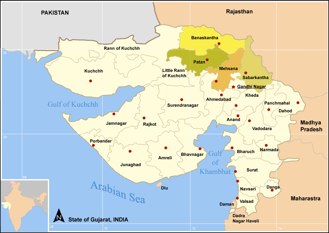 NORTH GUJARAT MAP